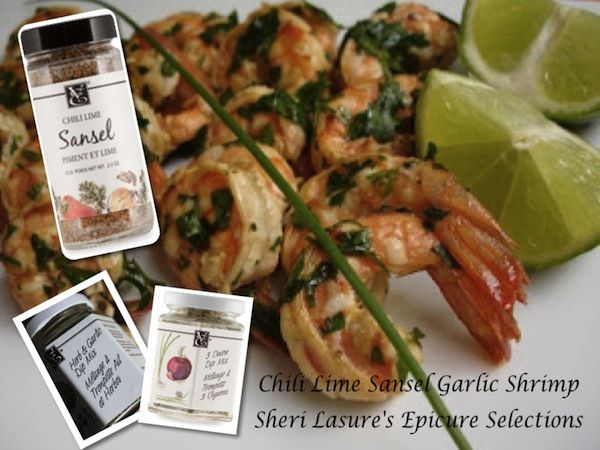CHILI LIME SANSEL GARLIC SHRIMP - Yum Yum Yum! Epicure's Chili Lime Sansel & FRESH Lime is SO Good together... we can't get enough of these!! I betcha you can't eat just one!  I also use Epicure Selections 3 Onion & Herb & Garlic.  If you'd like to see the full recipe go to my FB page.