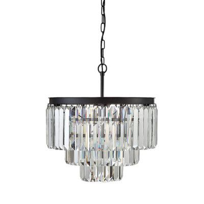 Creative Co-Op Uptown Iron Frame with Crystals 9-Light Chandelier & Reviews | Wayfair