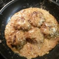 Smothered cream of mushroom Hamburger steak