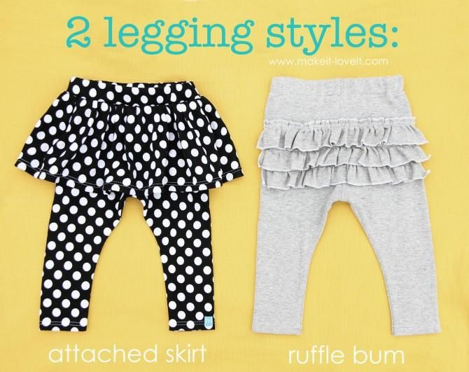 DIY Clothes Refashion: DIY 2 Legging Styles: Attached Skirt and Ruffle Bum DIY Clothes DIY Refashion DIY Sew