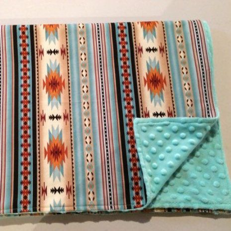 Gorgeous teal Navajo print Minky baby blanket, ready to ship!