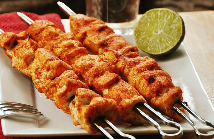 SKEWERS WITH CHICKEN , SHALLOTS AND SWEET POTATO
