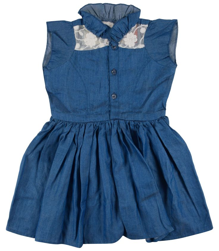 Blue chambray net patch ruffled a-line baby dress by Naichi. This chic chambray dress has cute ruffled collar and flair with front buttons and designer net work bodice.