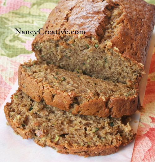 Zucchini Spice Bread–one of my favorite recipes for zucchini bread! change some of the ingredients, sugar to raw cane sugar (organic), oil, to olive oil, flour to unbleached-unbromated (non-GMO) and so on.