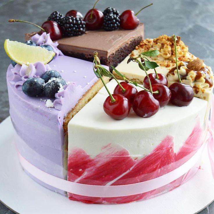 наклейка красивая картинка торта четвертинки используют профи экстра-класса