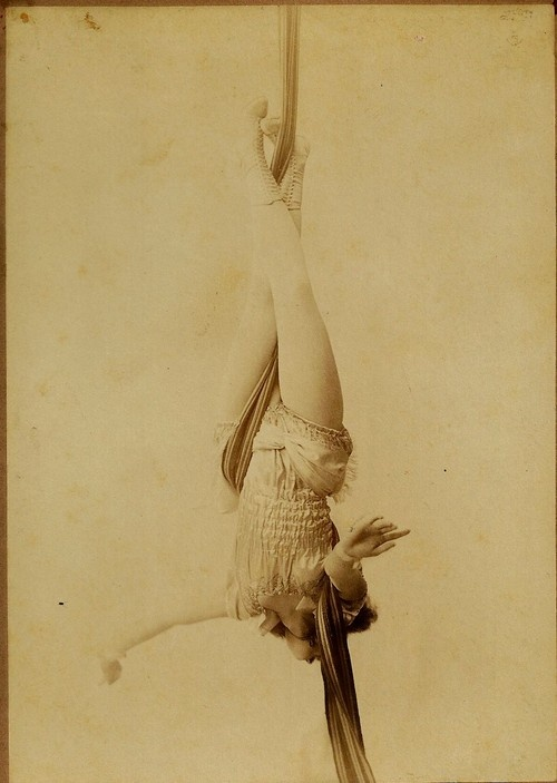 Unknown aerialist, circa 1900  (that was the original caption... but i did not think that silks were invented yet..)