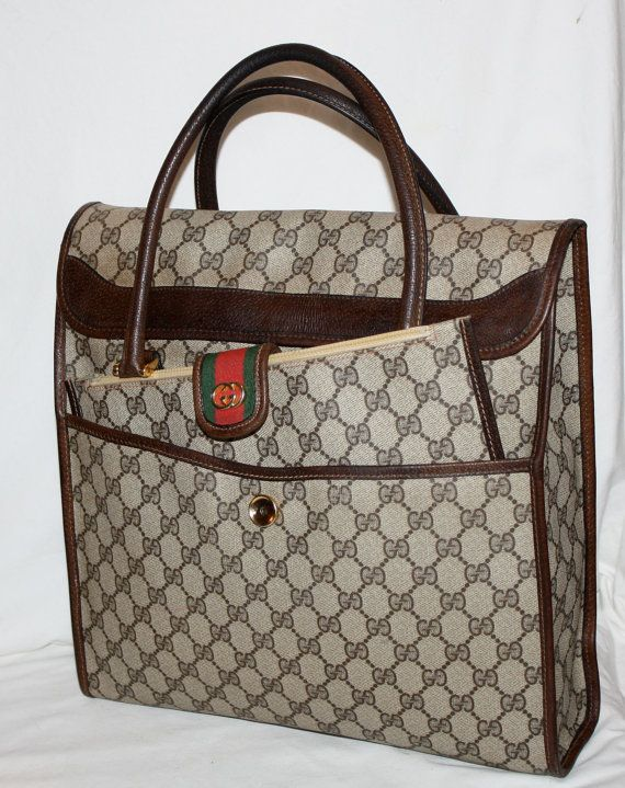 RARE AUTHENTIC GUCCI Vintage Kangaroo Pouch Monogram 2pc Set Tote Clutch