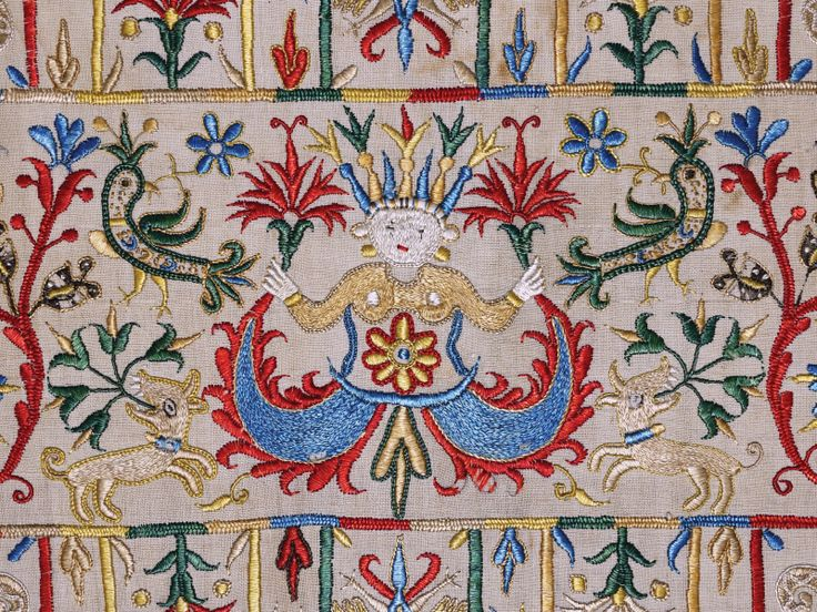 "embroidered skirt border (detail), Crete, 17th century. Private collection ___ From the exhibition ""The Sultan's Garden: The Blossoming of Ottoman Art"" at the Textile Museum, Washington DC"
