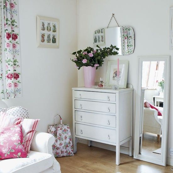 Via Heart Handmade UK blog. Ideas for guest bedroom, white with vintage florals, give old Utility furniture a lick of white paint.