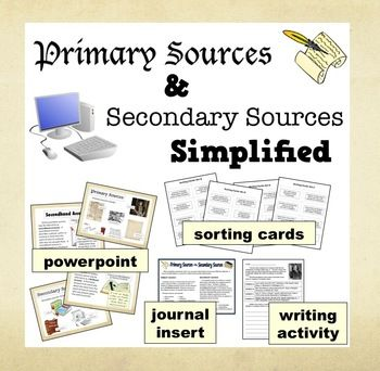 This set of kid-friendly resources – a ppt, four sets of sorting cards, reference sheet, and writing activity – is designed to introduce elementary students to the concept of primary and secondary sources, as well as the difference between firsthand and secondhand accounts. $
