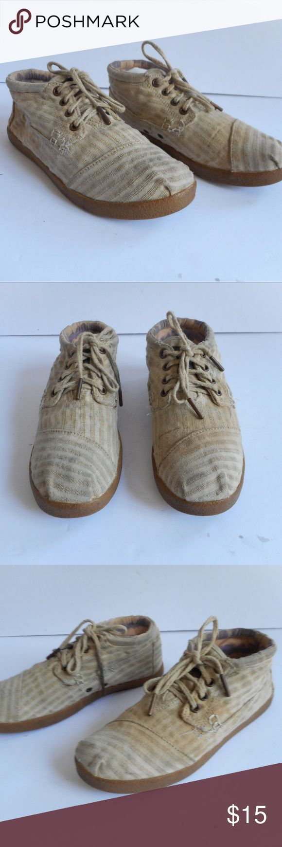 Toms Botas Flat Boots Sneakers LAce womens 6.5 Toms Shoes One for One womens Botas stripe tan has some stains throughout not extremely noticeable haven't tried to remove overall great shape (except staining) priced low for that absolutely no offers  under 15 takes $3 automatic Toms Shoes Ankle Boots & Booties