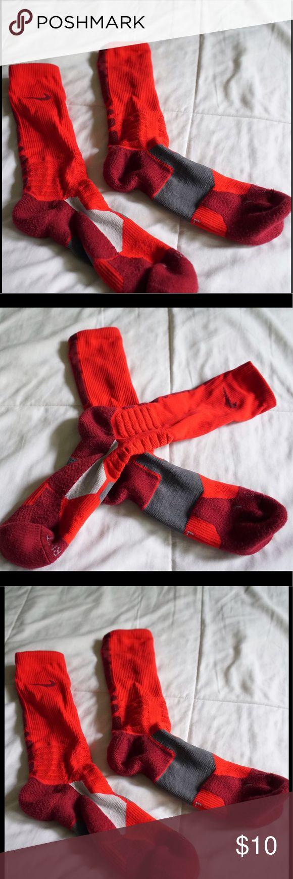 NIKE Men's Athletic Socks UNWORN Hyper elite. Long. Red/black/gray. Dri-fit. Super thick. Heavy duty. Nike Underwear & Socks Athletic Socks