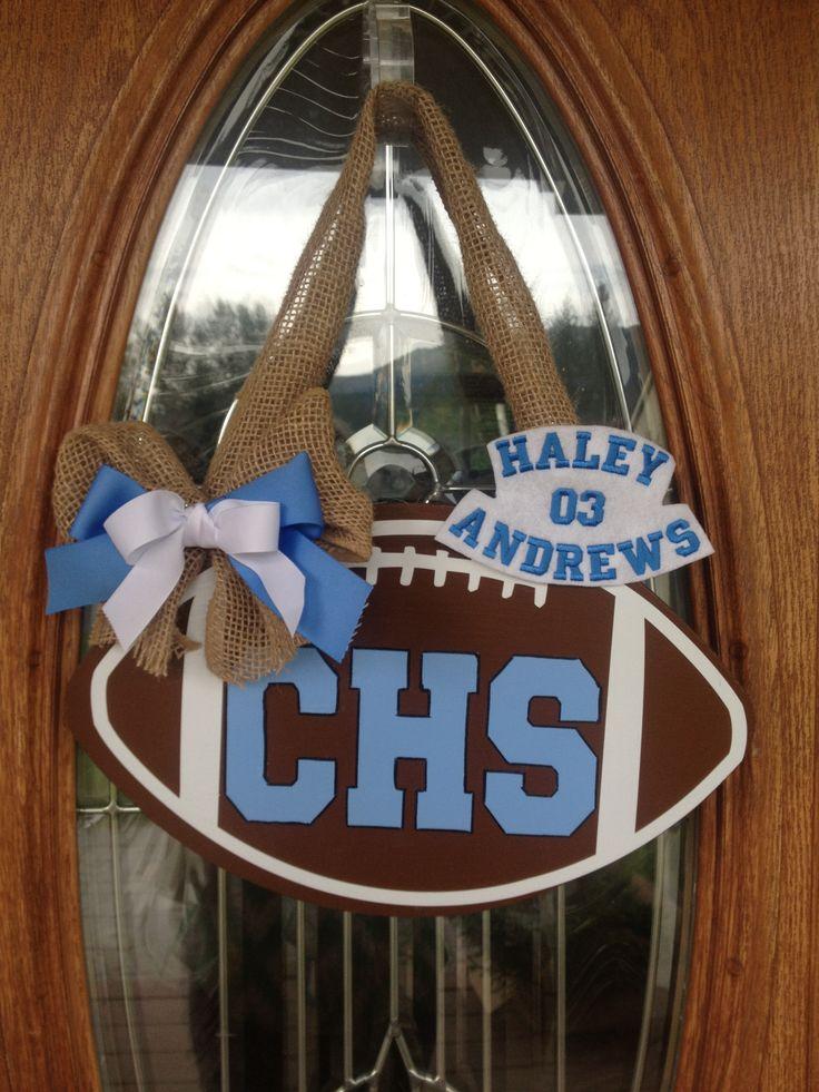 Football door hanger for flag football and team spirit item.