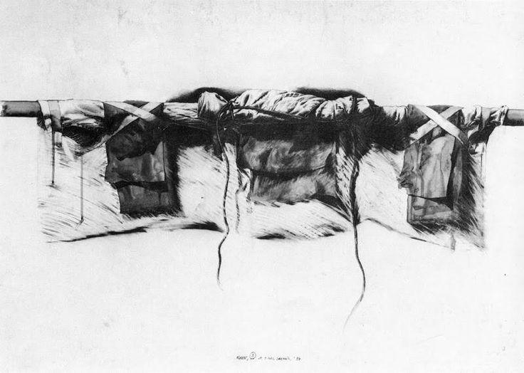 """gérard titus-carmel - """"noren 3"""", 1977 (mine plomb et aquarelle)"""