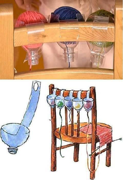 Hoezo handig bedacht!!!!een paar flessen verknippen om tijdens het haken of breien je wol niet weg te laten rollen....
