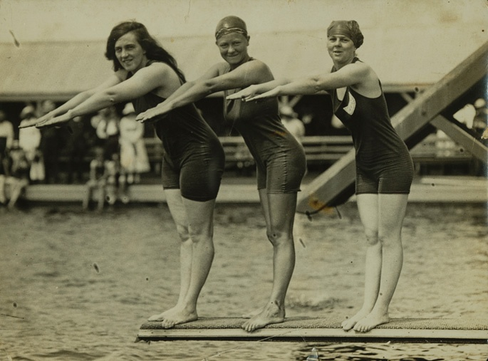 Australian swimmers Fanny Durack (left) & Mina Wylie (centre) with British swimmer Jennie Fletcher, medal-winners for the women's 100-metres-freestyle race at the 1912 Olympic Games in Stockholm.