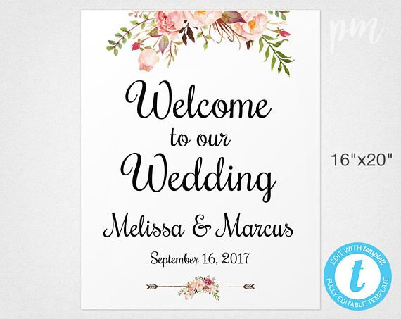 Pink Floral Welcome Sign Wedding Welcome Sign Template