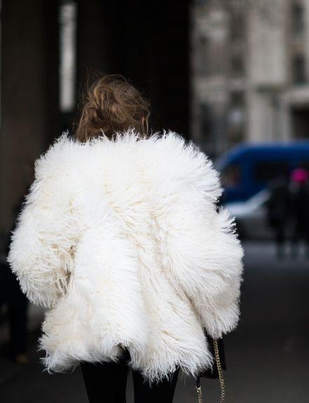 big fuzzy white coat
