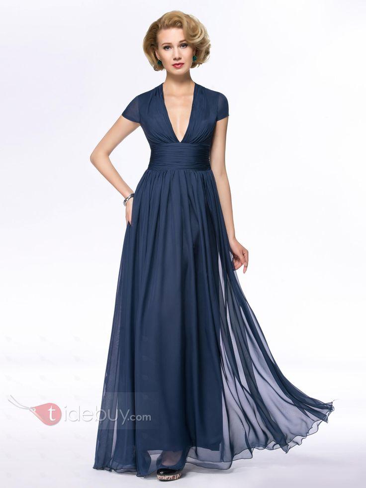 エレガントなVネックAラインの床の長さの花嫁ドレスのジッパーアップマザー
