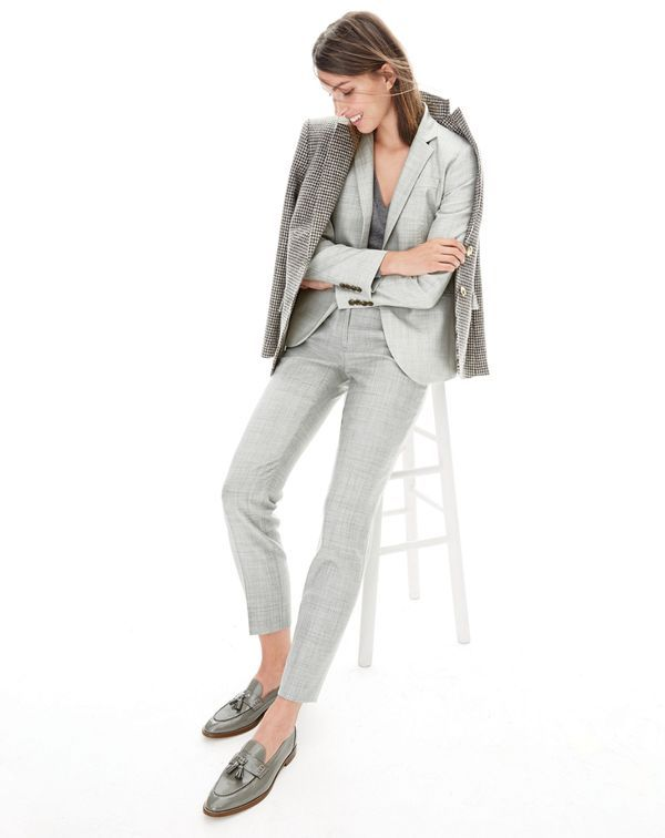 DEC '15 Style Guide: J.Crew women's Campbell blazer, Rhodes blazer in puppytooth, Collection cashmere boyfriend V-neck sweater, Paley pant and Biella tassel loafers.