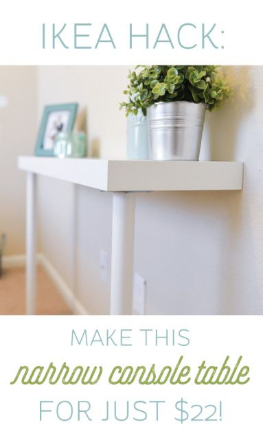 Instead of trying to fit four different table legs into your tiny entry, use this table that takes up half of the space — but has plenty of room for the important things like your keys and mail. Click through for a how-to and more IKEA hacks for your entryway.