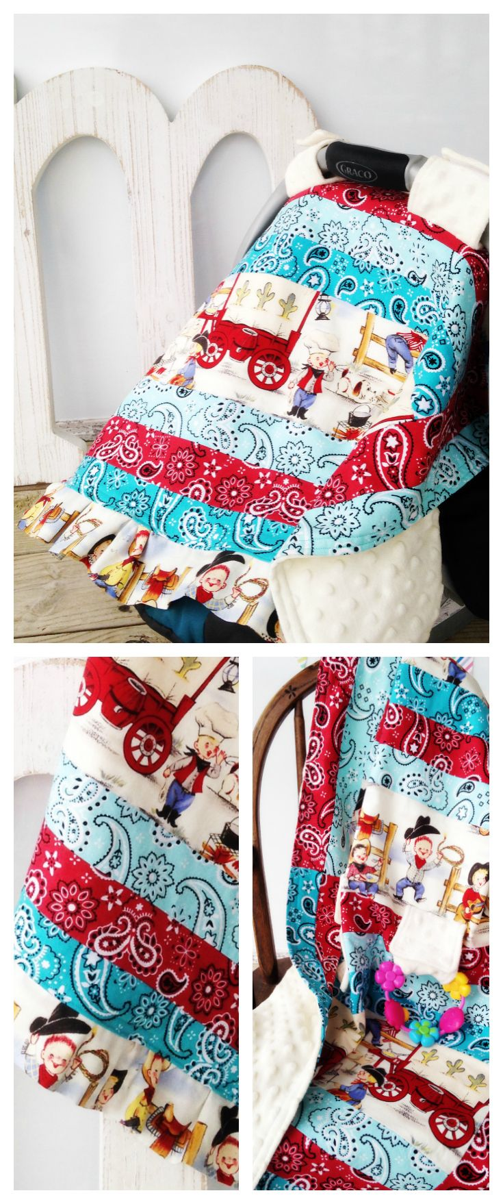 Toddler Teething Quilt & Car Seat Cover, Retro Vintage Cowboy Nursery, Baby Boy, Blue Red Aqua Teal Bandana, Covered Wagon, Lasso, Horse, Toddler Bedroom Theme, Minky Crib Bedding Blanket, Canopy, Shower Gift | by Missy Prissy Shop, $37.00