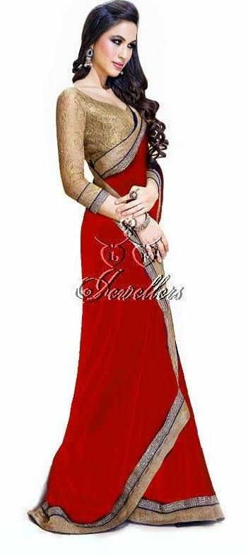 Faux chiffon sarees with beautiful border with contrast colour blouse   Material: Faux Chiffon  Colour: Red with Black and gold border   Price: $62 (AUD)  https://www.facebook.com/media/set/?set=a.690548291003703.1073741852.423983984326803&type=3#!/photo.php?fbid=690548367670362&set=a.690548291003703.1073741852.423983984326803&type=3&theater