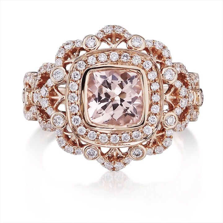Vintage Morganite Ring 18k Rose Gold 7x7mm Cushion Cut Peach Pink Morganite Ring & Diamonds Halo Victorian Engagement Wedding Ring  by PristineCustomRings on Etsy https://www.etsy.com/listing/203581363/vintage-morganite-ring-18k-rose-gold