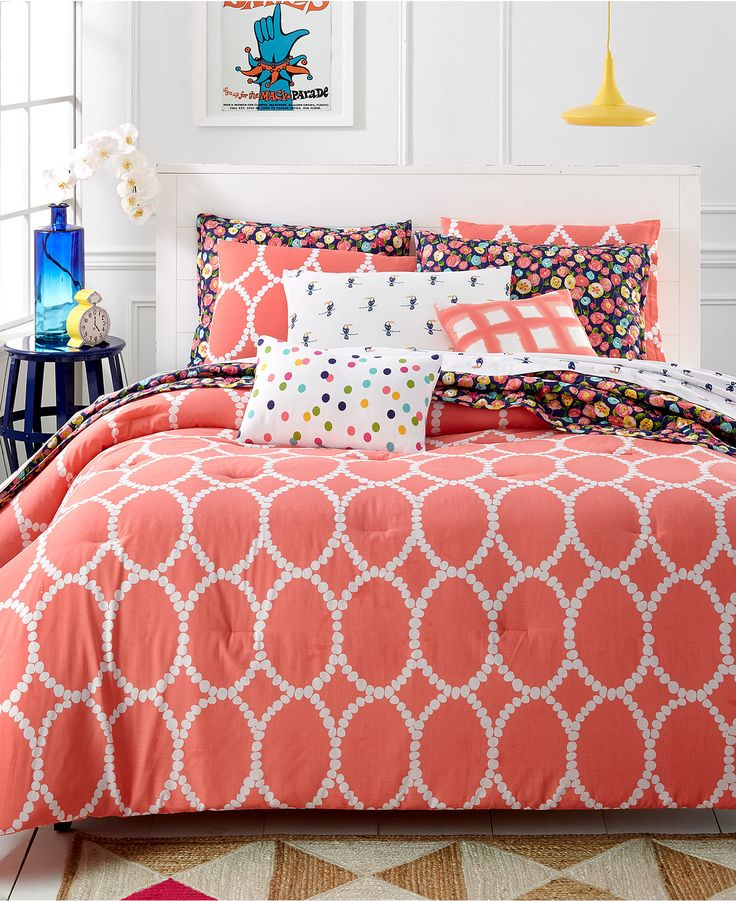 Martha Stewart Whim Collection Coral Mirror Mirror 5-Pc Comforter Set - Bed in a Bag - Bed & Bath - Macy's