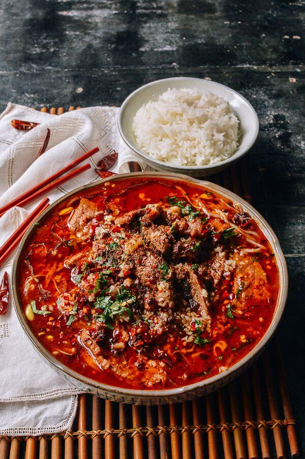 Sichuan Boiled Beef (Shuizhu Niurou), by thewoksoflife.com