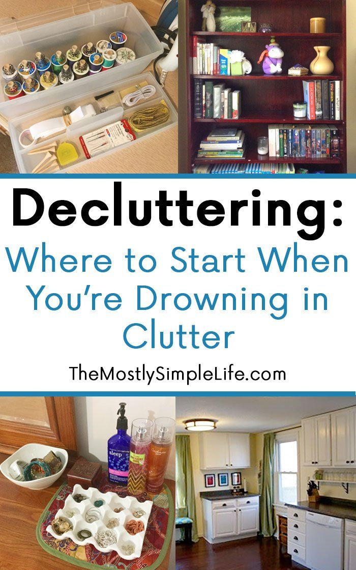 Decluttering: Where to start when you're drowning in clutter. Here's a map of how to get going when you're so overwhelmed by clutter that you don't know where to start. Pin now and read when you're ready to purge unnecessary stuff from your home.