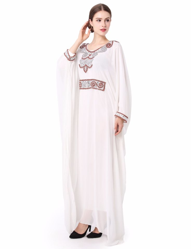 embroidery long sleeve muslim dress gown Dubai moroccan Kaftan clothing Caftan Islamic women Abaya Turkish arabic dress LF-14