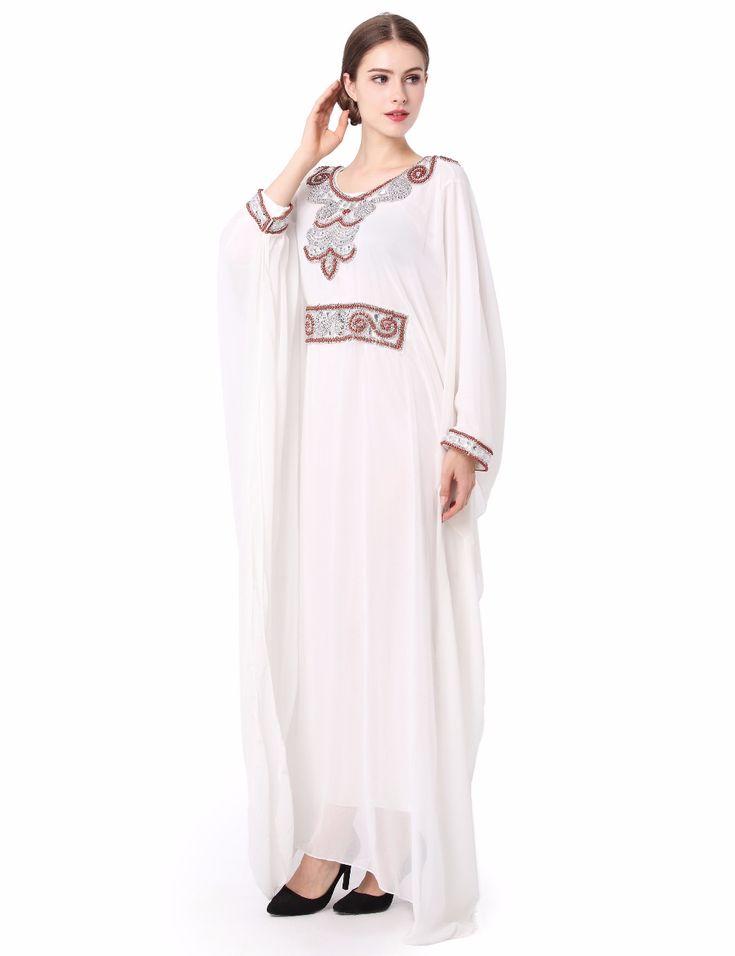 刺繍ロングスリーブイスラム教徒ドレスガウンドバイモロッコカフタン服カフタンイスラム女性のアバヤトルコアラビアドレスLF-14