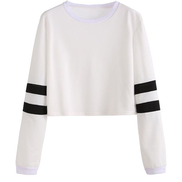 White Varsity Striped Sleeve Crop T-shirt ($9.99) ❤ liked on Polyvore featuring tops, t-shirts, white, crop top, long sleeve tops, striped t shirt, crop tee and white stripes t shirt