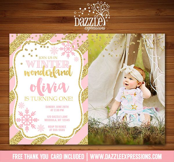 Printable Gold Glitter Winter Snowflake Birthday Invitation | ONEderland | Wonderland | December and January Girls Birthday Party for any age!  | Rustic | Baby Shower | FREE thank you card included | Printable Matching Party Package Decorations Available! Banner | Signs | Labels | Favor Tags | Water Bottle Labels and more! www.dazzleexpressions.com