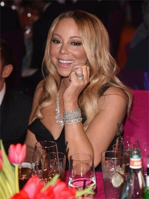 Mariah Carey wears her 35-carat diamond engagement ring by Wilfredo Rosado.  (Photo by Venturelli/Getty Images for Bulgari)