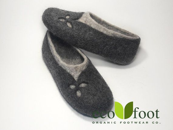 Felted slippers Women home shoes Grey Natural Women slippers Eco fashion  Traditional felt 100% wool