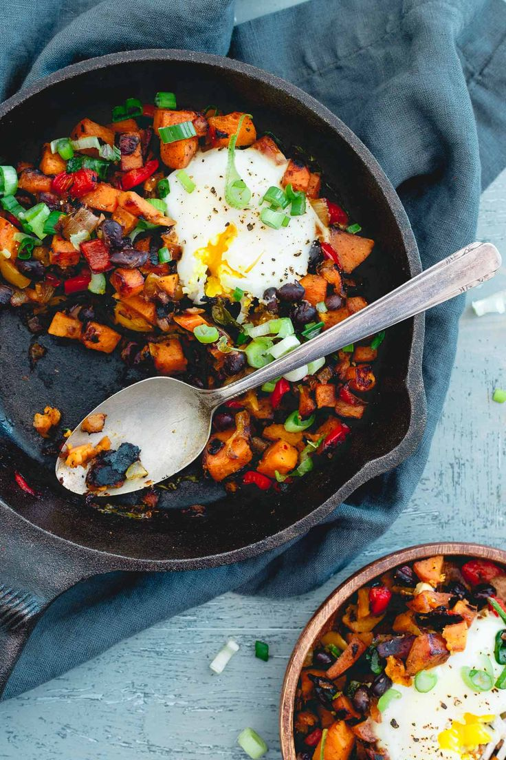 With a of couple runny eggs on top, this harissa sweet potato hash is simple, spicy and perfect for a quick meal any time of day!