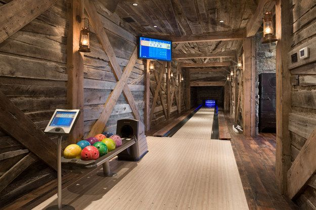 I don't want the bowlong alley, but I'm digging the walls!------- A Bowling Alley In The Basement | 31 Remodeling Ideas You Obviously Need In Your Future Home