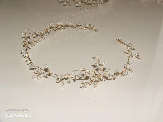 WILDERNESS Hair Vine, Wedding Headdress, Bridal Halo, Pearl Wedding Hair Vine, Modern Bridal Hair Accessory, Gold Hair Vine.