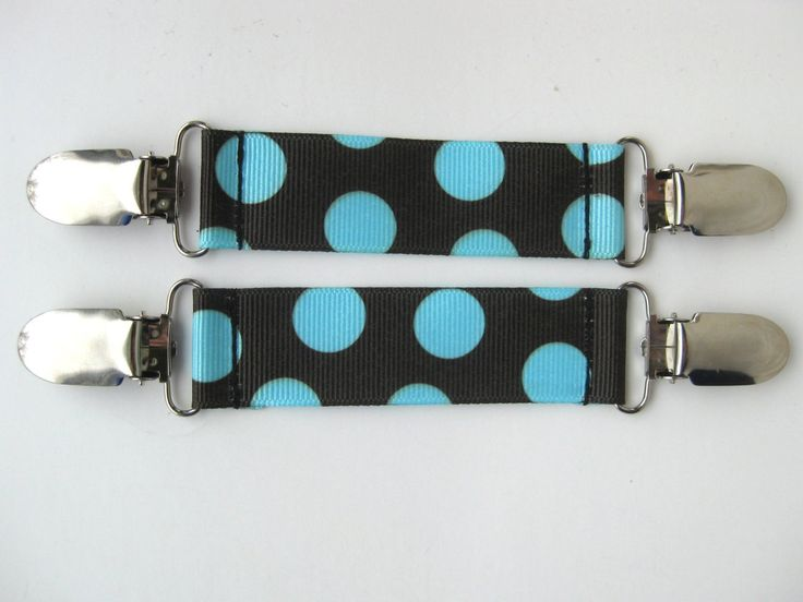 Polka Dot MITTEN CLIPS for Kids Winter Jacket- Brown Blue Glove Clip- Mitt Clip- Childrens Mitten Clips- Sleeve Clip- Gift for Kids Under 10