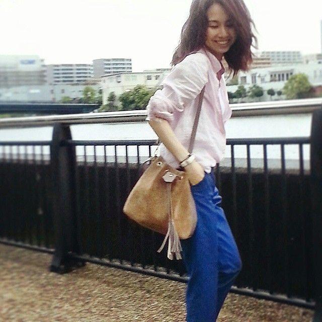 ピンク×ブルー  #uniqlo_japan_official #uniqloginza #uniqlo_printemps_ginza #リネンシャツ