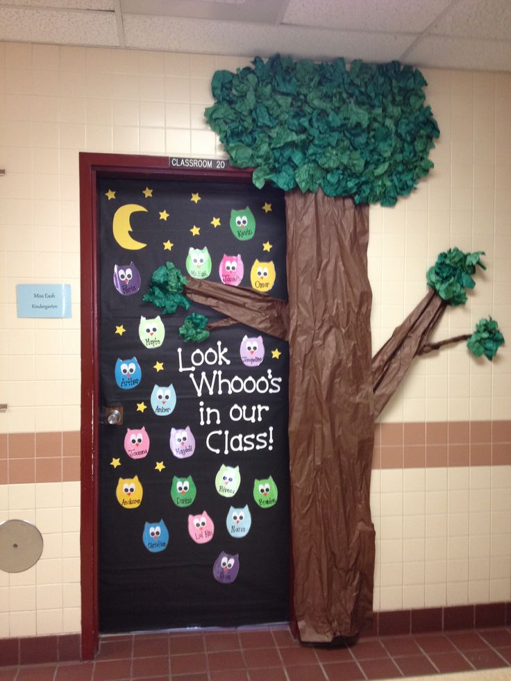 Owls Classroom Door made by Amanda Beda Eash.. maybe use this for a drug free week door decoration