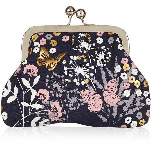 Accessorize Glitter Butterfly Clipframe Purse ($12) ❤ liked on Polyvore featuring bags, butterfly bags, embellished bag, coin pouch, flower bag and sparkly bag