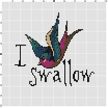 I swallow. Cute, old school tattoo style swallow would fit any decor. Put it in a fancy frame and your friends and weird relatives will do a double take. Great valentines gift to show how much you care. Modern cross stitch pattern is designed on 14 count Aida. It will run about6x6 and will look awesome in an 8x10 frame with a matte, or larger.  This pattern will come with 2 different sized full colour patterns, for printing or viewing convenience, and a handy little tips and tricks printout…