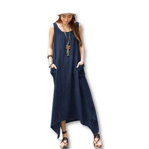 Long Dress Vintage Pockets Irregular Maxi Dresses Plus Size