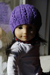 Pattern available as a FREE Ravelry Download. It is the same Beret pattern as my American Girl Doll Heather Aran Set.