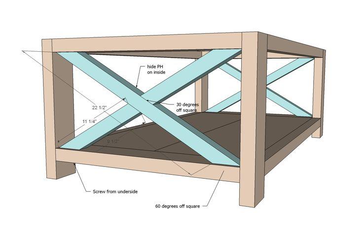 Rustic X Coffee Table. DIY
