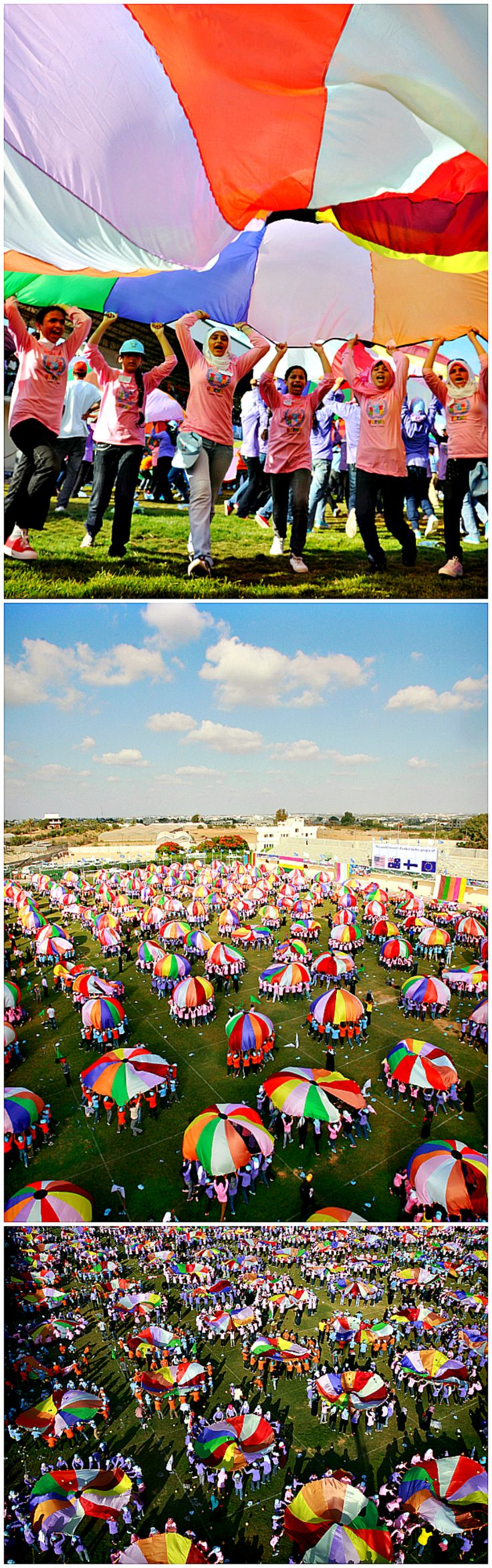 The most people playing parachute is 3,520 with 176 parachutes and was achieved by children from the Gaza Strip, at the Khan Younis Stadium, Gaza, on 30 June 2011.  #parachute #games #kids #education #fun #colors #thingstodowithkids #moms #play #outdoors #children