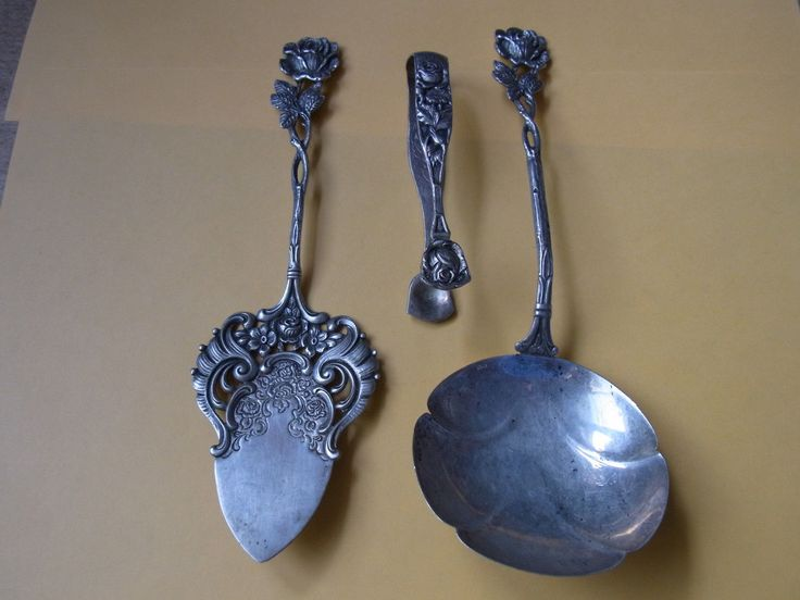3 Teile Silber Tortenheber Heber Sahnelöffel 835 Zuckerzange 800 Silber Rose   eBay